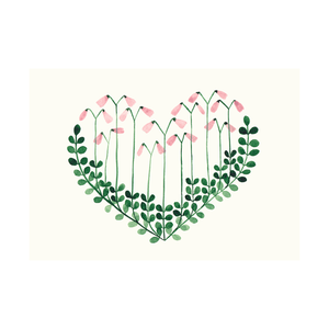 Postcard Twinflower Heart