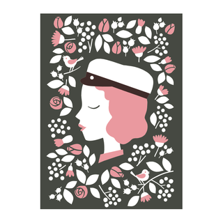 Greeting card Ylioppilas girl letterpress