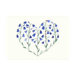 Postcard Bluebell Heart